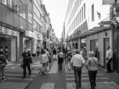 Black and white Koeln high street — Stockfoto