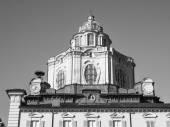 Black and white San Lorenzo church Turin — Stockfoto