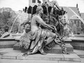 Black and white Neptunbrunnen — Stock Photo