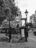 Black and white London Underground station — Stock Photo