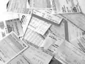 Black and white Public transport tickets — Zdjęcie stockowe