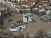 Milan aerial view — Stock Photo