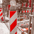 Retro look Road work building site — Stock Photo #71061637