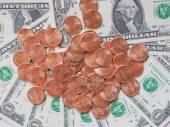 美元硬币和纸币 — 图库照片