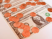 Retro look Dollar coins and notes — Stock Photo