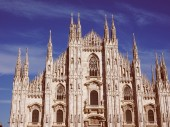 Retro look Milan Cathedral — Fotografia Stock