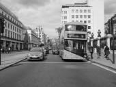 Black and white Double Decker bus — Stock Photo