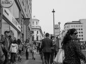 Black and white London people — Stock Photo