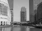 Black and white Canary Wharf in London — Stock Photo