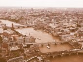 Retro looking Aerial view of London — Stock Photo