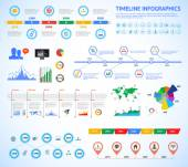 Set of timeline Infographic with diagrams and text. Vector Concept Illustration for business presentation, booklet, web site etc. — Stock Vector
