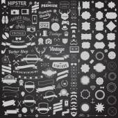 Huge set of vintage styled design hipster icons Vector signs and symbols for design The largest set of  phone, gadgets, sunglasses, mustache, anchor, ribbons infographcs element and other things. — Stock Vector