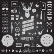 Huge set of vintage styled design hipster icons Vector signs and symbols templates for your design Largest set of phone, gadgets, sunglasses, mustache, ribbons infographcs element and other things. — Stock Vector #60604895