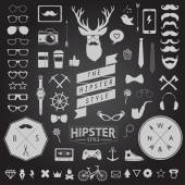 Huge set of vintage styled design hipster icons Vector signs and symbols templates for your design Largest set of phone, gadgets, sunglasses, mustache, ribbons infographcs element and other things. — Stock Vector