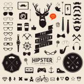 Huge set of vintage styled design hipster icons Vector signs and symbols templates for your design Largest set of phone, gadgets, sunglasses, mustache, ribbons infographcs element and other things. — Stockvector
