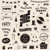 Set of party icons. Vector signs and symbols templates for your design. — Stock Vector
