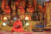 Young Buddhist Monk Reading Prayer Book — Stock Photo