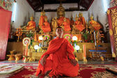 A monk meditating in the lotus position — ストック写真