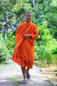 Young Buddhist Monk Walking To The Camera — Stock Photo