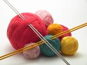Colorful Wools and needles — Stock Photo