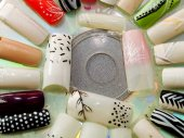 Artificial fingernails close-up — Stock Photo