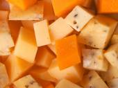 Cheese cubes from gouda — Stock Photo