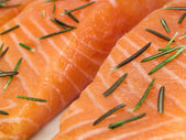 Salmon Steak with herbs — Stock Photo