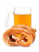 Pretzels And Beer in glass — Стоковое фото