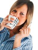 Mujer con café de la mañana — Foto de Stock