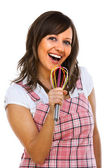 Young woman singing with egg whisker — Stock Photo