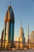Dubai skyline at sunrise — Stock Photo