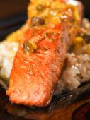 Salmon with capers sauce — Stock Photo