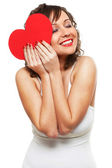 Young woman with red heart — Stock Photo