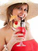 Woman with hat and cocktail — Stok fotoğraf