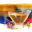 Aromatic spa oil with candles — Stock Photo #62241689