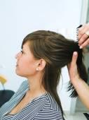 Woman At  hair studio — Stok fotoğraf