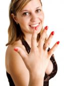 Woman showing her engagement ring — Stock Photo