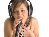 Beautiful singer in headphones — Foto de Stock