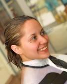 Woman Drying Hair — Stock Photo
