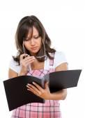 Businesswoman reading documents — Stock Photo