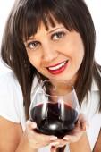 Kırmızı şarap içme kadın — Stok fotoğraf