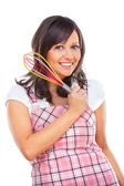 Young woman holding egg whisker — Stock Photo