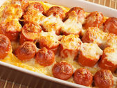 Casserole with sausage and mozzarella — Photo