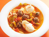 Tunisian soup with meatballs and eggs — Stock Photo