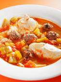 Tunisian soup with meatballs — Stock Photo