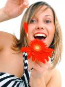 Happy woman with flower — Stock Photo