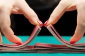 Shuffling playing cards — Stock Photo