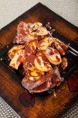 Beef steak with mushrooms — Stock Photo