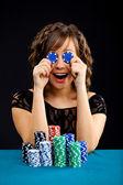 Young woman with gambling chips — Foto de Stock