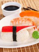 Three types of nigiri sushi — Stock Photo